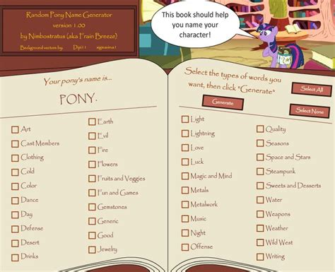 Here it is! The Flash version of my Pony Name Generator