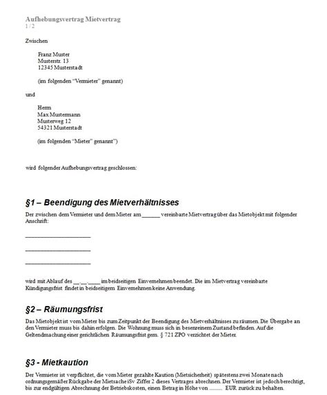 Aufhebungsvertrag Mietvertrag › Aufhebungsvertrag Muster